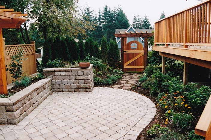 Flagstone and gate with new planting